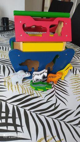 Zabawka drewniana arka noego zwierzaki sorter