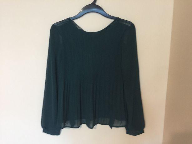 Zielona butelkowy zieleń bluzka plisowana zwiewna elegancka Reserved