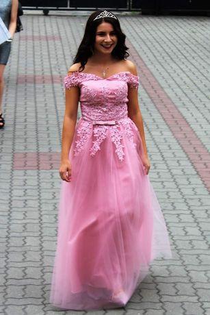 Różowa długa sukienka S
