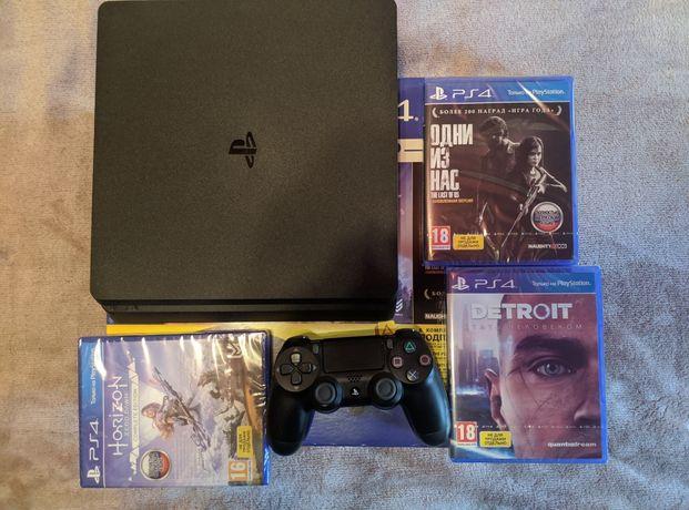 Sony PlayStation 4 Slim 1TB + второй геймпад и 3 игры, новая.