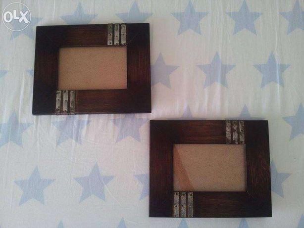Conjunto 2 molduras em madeira p\ fotos 10x15cm