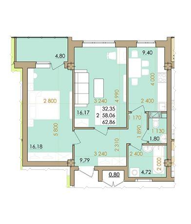 2 ком. Европейская 146Е, корп. 3, 8/9 этаж, 63 м.кв.