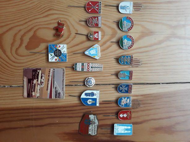 Znaczki metalowe na szpilce Herby Miast