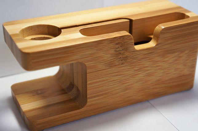 Wyprzedaż Kultowy bambusowy dock IPhone/Apple Watch