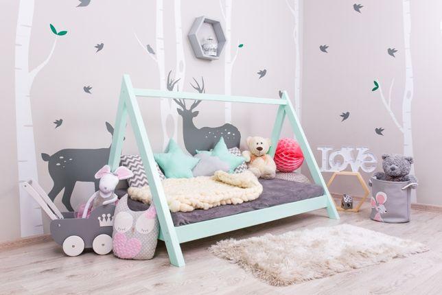 Nowe łóżko domek skandynawski, dziecięce, drewniane LOFT KOLOR