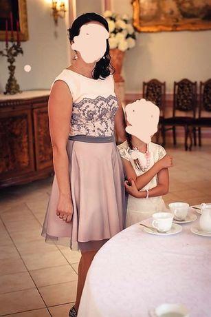 Sukienka pudrowy róż 38 roz. komunia,wesele