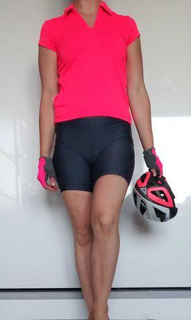 Strój zestaw ubrań na rower szosowy kolarkę różowy szary rozmiar S