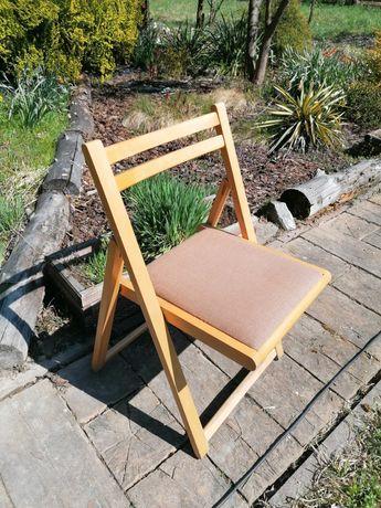 Krzesło składane drewniane z tapicerowanym siedziskiem