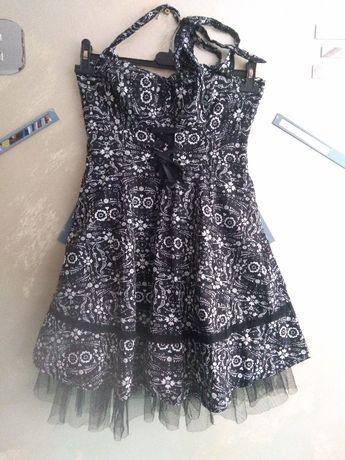 Sukienka pin up retro vintage czarno biała rozkloszowana folk