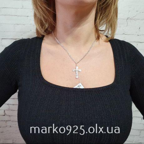 Разные! Серебряная цепочка и крестик. Женская цепочка и кулон серебро