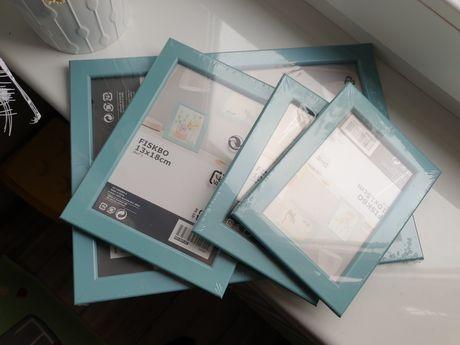 Ikea Fiskbo ramki miętowe niebieskie 4szt.