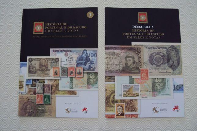 História de Portugal e do Escudo em Selos e Notas