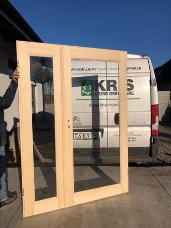 Drzwi dwuskrzydłowe od ręki sosna 138x205cm
