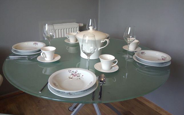 Stół okrągły (szkło/metal) z 4 krzesłami (metal/drewno]