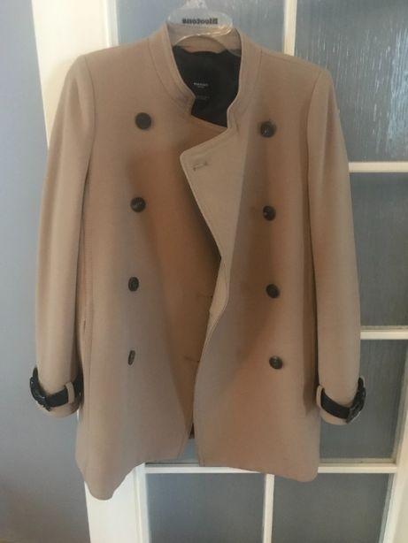 Płaszcz MANGO oversize 36 S nude dwurzędowy