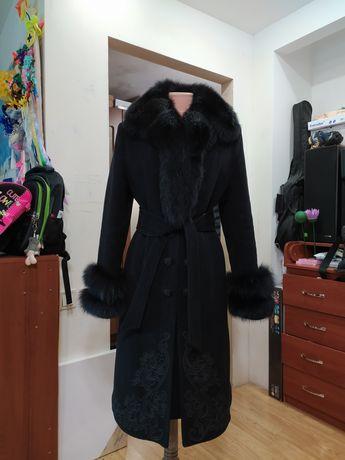 Зимнее пальто,Пальто, Натуральный мех, Песец