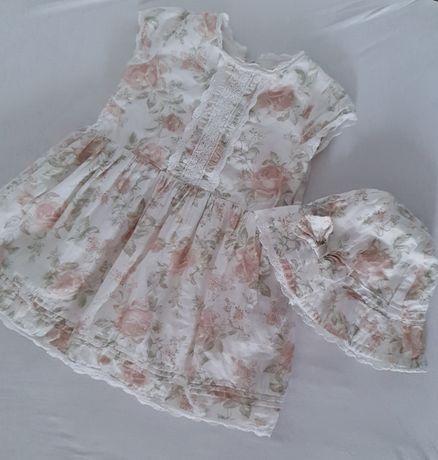 Newbie sukienka limitka limitowana edycja 92 kwiaty kwiatki + kapelusz