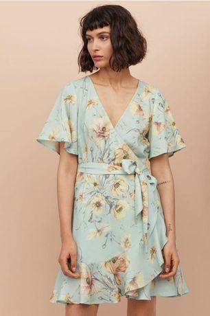 Новое шикарное платье на запах в цветочный принт,бирюзовое платье H&M
