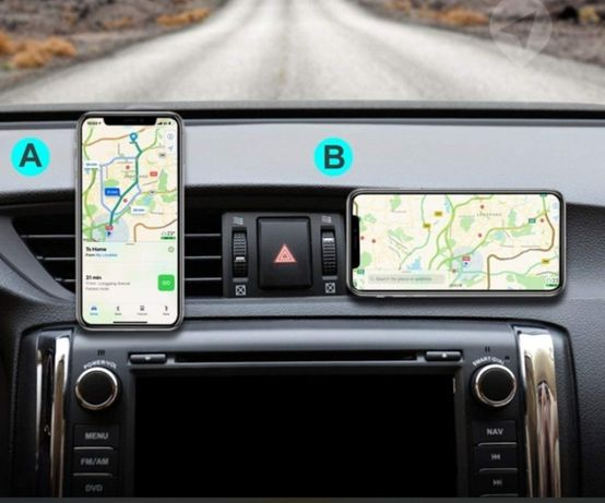 Магнитный держатель телефона в любой автомобиль.