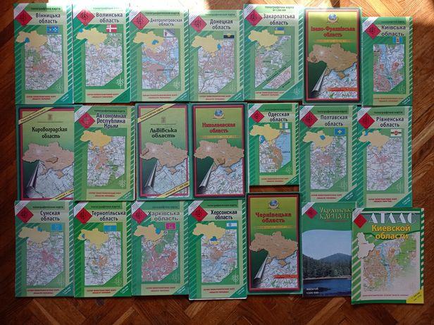 Топографические карты областей Украины, схемы навигатор охота, рыбалка