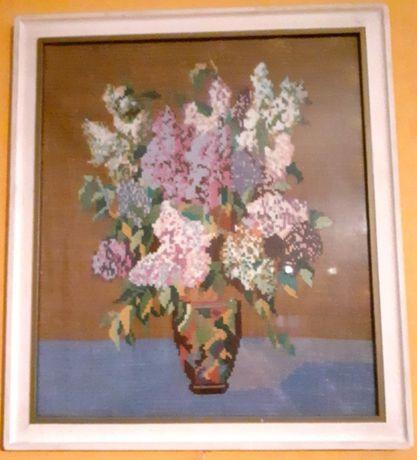Obrazek ręcznie wyszywany - wazon z kwiatami