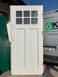 Drzwi drewniane angielskie zewnętrzne ocieplane 7cm ral 7035