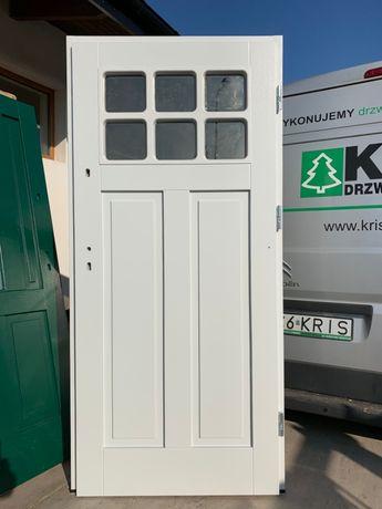 Drzwi drewniane OD RĘKI zewnętrzne ocieplane 7cm ral 7035