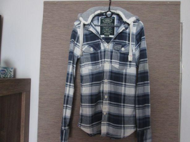 Bluza koszula młodzieżowa / męska w kratkę z kapturem rozmiar S