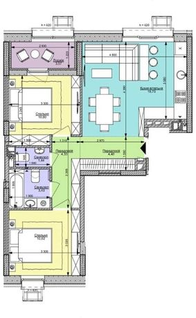 2К квартира, 57 кв.м., ЖК Файна Таун, ул. Салютная, 2, c документами