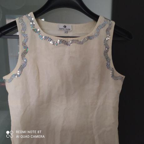 Deni Cler sukienka cekiny, połysk, ozdoby, delikatna zwiedzania 42 L r