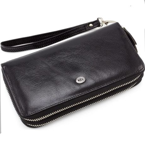 Большой мужской кожаный кошелек клатч портмоне на две молнии ST Leathe