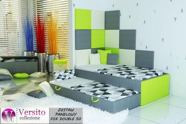 Fantastyczny zestaw łóżko piętrowe+2 materace+panele tapicerowane