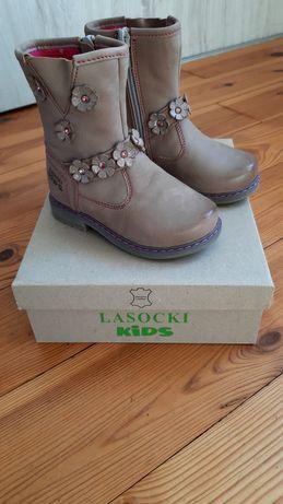 Nowe skórzane kozaczki butki zimowe Lasocki Kids rozm 23