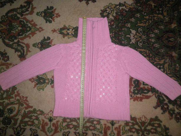 Кофточка вязаная для девочки с рукавами