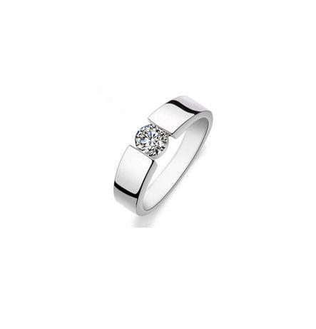 Nowy pierścionek obrączka srebrny kolor biała cyrkonia prosty