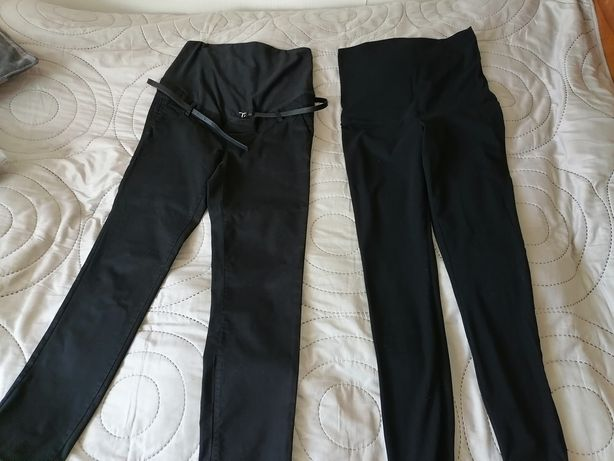 Spodnie ciążowe h&m mama 36 eleganckie w zestawie z legginsami