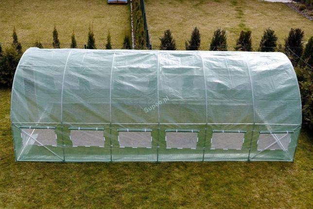TUNEL Foliowy + OKNA 600 cm x 300 cm = 18m2, dwa kolory. NOWA