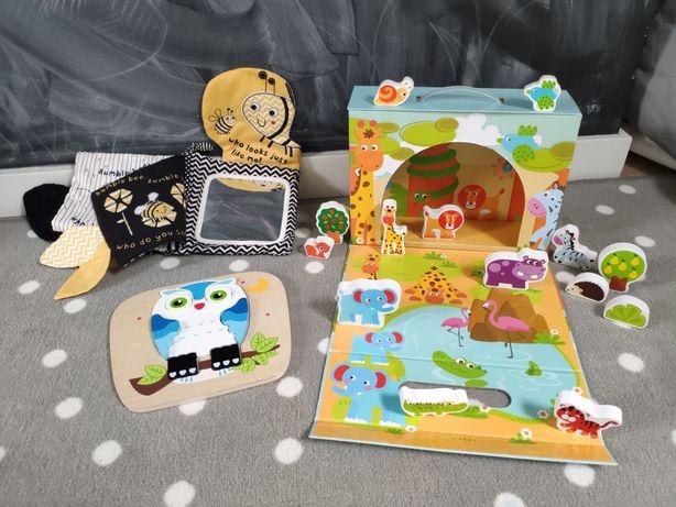 Zestaw zabawek, drewniane zwierzęta, puzzle, książeczka sensoryczna