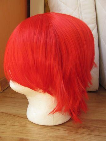 czerwona krótka peruka cosplay wig krótkie włosy przebranie czerwień