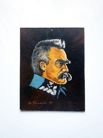 Piłsudski - miniatura, olej na płycie, sygn