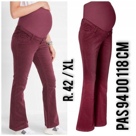 Spodnie jeansy dzins ciaza ciazowe bordo sztruks 42 xl