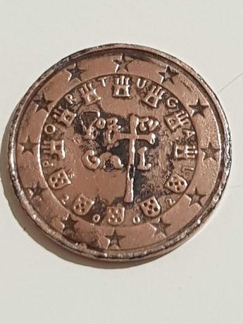 5 cêntimos com defeito de cunho