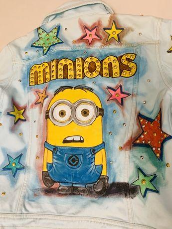 Oryginalna jeansowa katana Minions/ Minionki ręcznie malowana