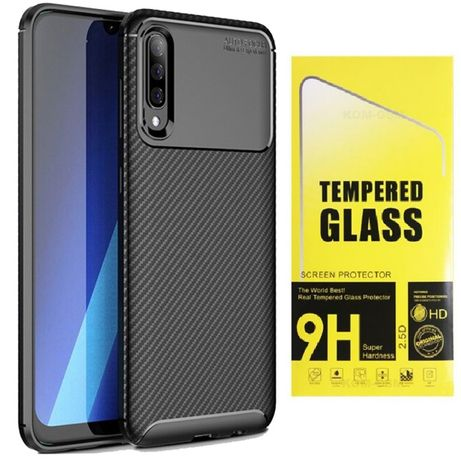 Etui Karbon + Szkło Hartowane Samsung Galaxy A10 A20e A50 A70 mocne tp