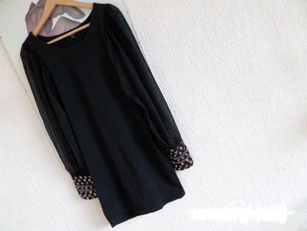 AX Paris mała czarna szyfonowe rękawy zdobione mankiety sukienka