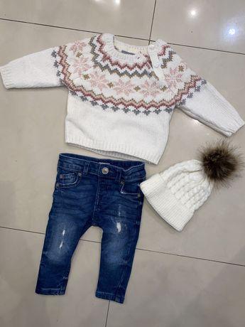 Komplet sweter czapka spodnie 68 dziewczynka