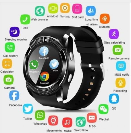 V8 SmartWatch - Android iOS Samsung Xiaomi Huawei Iphone