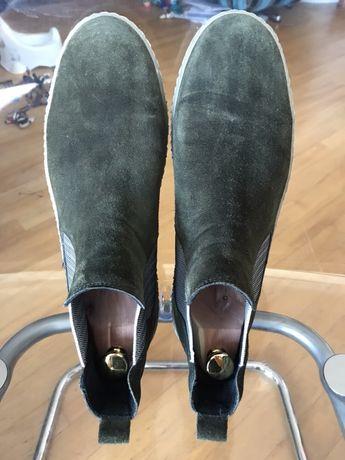 Zamszowe/ welurowe botki/ ancle boots Gabor 43 ZIELONE