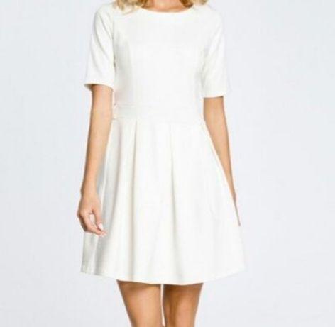 Nowa klasyczna sukienka 40 ecru Moe casualowa