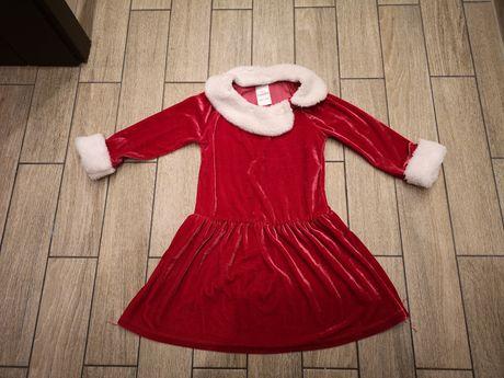 Sukienka mikołajki, mikołajka święta roz.98-104cm
